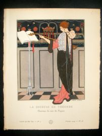 Gazette du Bon Ton by Barbier 1914 Art Deco Pochoir. La Joueuse de Theorbe